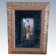 Victorian Portrait on Porcelain, Gilt Velvet Frame