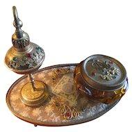 Art Deco Era 24KT Gold Plated Oromolu Jeweled Dresser Set