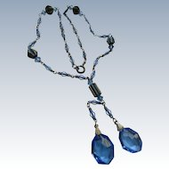 1920s Enameled Blue Crystal Necklace, Unique Estate Jewelry