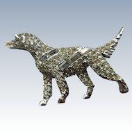 Pell Golden Retriever Pave Rhinestone Brooch, Dog Pin