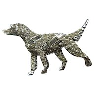 Pell Golden Retriever Pave Rhinestone Brooch, Dog Pin