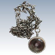 Victorian 10K Memorial Locket Necklace, Seed Pearl Picture Locket