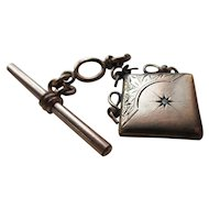 Victorian Watch Chain with Locket Fob, Star Burst Motif