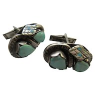 Vintage Native American Turquoise Sterling Cufflinks