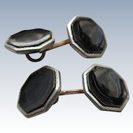 Vintage 1920s Deco Enameled Black Double Button Cufflinks