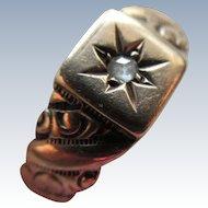 Antique Victorian 10K Wedding Band Rose Cut Diamond Star Burst