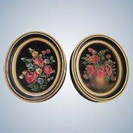 MARY MERRIEL Original Floral on Black Velvet Paintings Pair