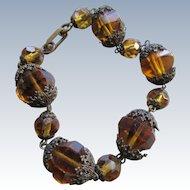 Vintage 1930s Amber Crystal Bracelet