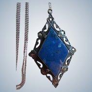 Vintage Deco Sterling Marcasite Blue Stone Necklace