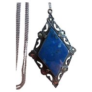 Vintage Deco Sterling Marcasite Blue Stone Necklace