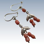 Victorian Natural Coral Bead Pierced Earrings