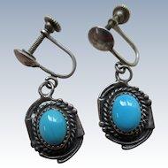 Vintage Sterling Native American Screw Back Earrings