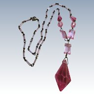 Cintage 1930s Czech Pink Crystal Drop Necklace