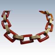 Vintage Deco Retro Geometric Glass Link Bracelet