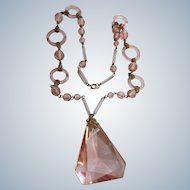 Vintage Deco Pink Crystal Necklace Circular Glass Beads
