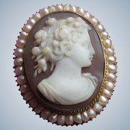 Victorian 10K Cameo Brooch with Seed Pearls