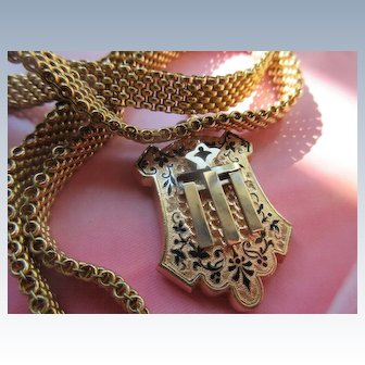Victorian Enameled Locket on Mesh Collar Chain necklace