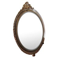 Vintage Gilt Filigree Vanity Mirror Vanity Tray