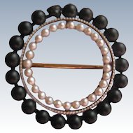 Antique 10K Jet Cultured Pearl Pin