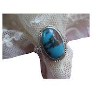 Vintage Deco Circa 1930 14K Turquoise Ring