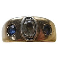 Vintage 1930s 14K Sapphire Diamond Band Diamond Ring