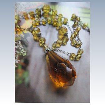 Vintage 1930s Czech Crystal Drop Necklace