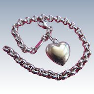 Vintage Sterling Heart Charm Bracelet with Gold Accent