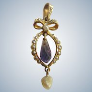 Antique Circa 1910 Amethyst Briolette Seed Pearl Lavaliere