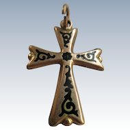 Victorian 10K Enameled Cross Pendant