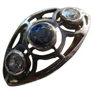 Deco Circa 1930 18K and Silver Diamond Synthetic Sapphire Ring