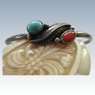Vintage Native American Sterling Coral Turquoise Cuff Bracelet