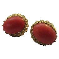 Vintage 18k Natural Coral Pierced Earrings