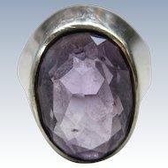 Vintage Shiptonia English Sterling Amethyst Ring  Birmingham Assay Marks Size 9