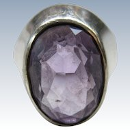 Vintage Shiptonia English Sterling Amethyst Ring  Birmingham Assay Marks Size 9
