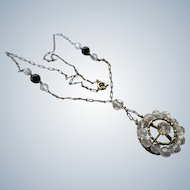 Vintage Circa 1940 Crystal Lavaliere in Gold Fill
