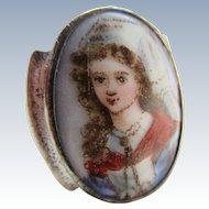 Older Vintage circa 1920 Sterling Porcelain Portrait Ring
