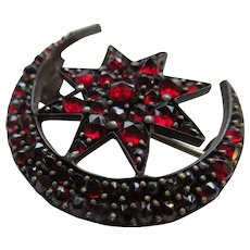 Antique Victorian Bohemian Garnet Crescent Moon and Star Pin January Birthstone