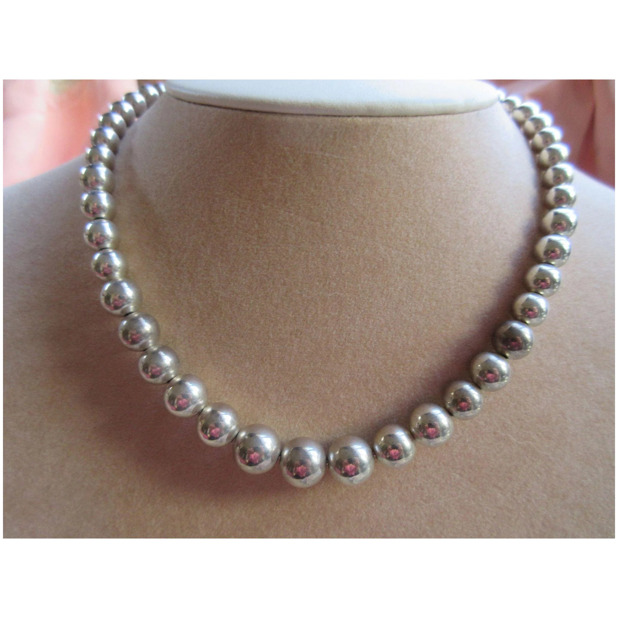 Vintage Tiffany And Co Sterling Graduated Beaded Necklace Pauline Street Ruby Lane