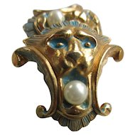 Vintage Joseph Mazer Enameled Lion Earrings