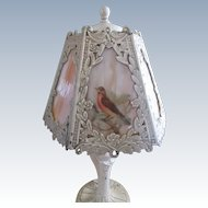 Antique Cast Art Nouveau Slag Glass Boudoir Lamp Circa 1915