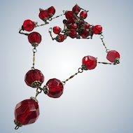 Older Vintage Red Faceted Crystal Necklace