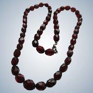 Deco Cherry Amber Prystal Bakelite Necklace