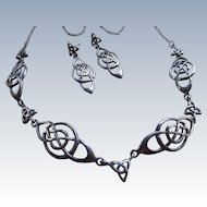 Vintage Sterling Geometric Necklace and Pierced Earrings Hallmarked