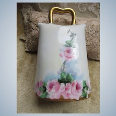 Circa 1920 Porcelain Bell Pink Roses