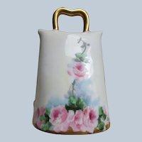Circa 1920 Porcelain Bell Pink Roses