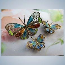 Vintage 800 Silver Plique A Jour Butterfly Set