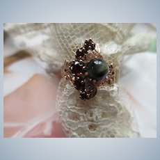 Victorian 10K Crescent Moon Garnet Ring