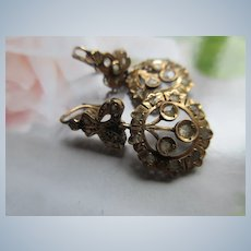 Antique Rose Cut Diamond 10K Pierced Earrings