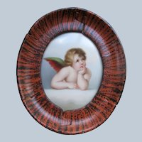 Antique Cherub Painting on Porcelain in Painted Frame