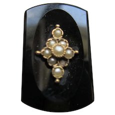 Antique Black Onyx Button with Seed Pearls